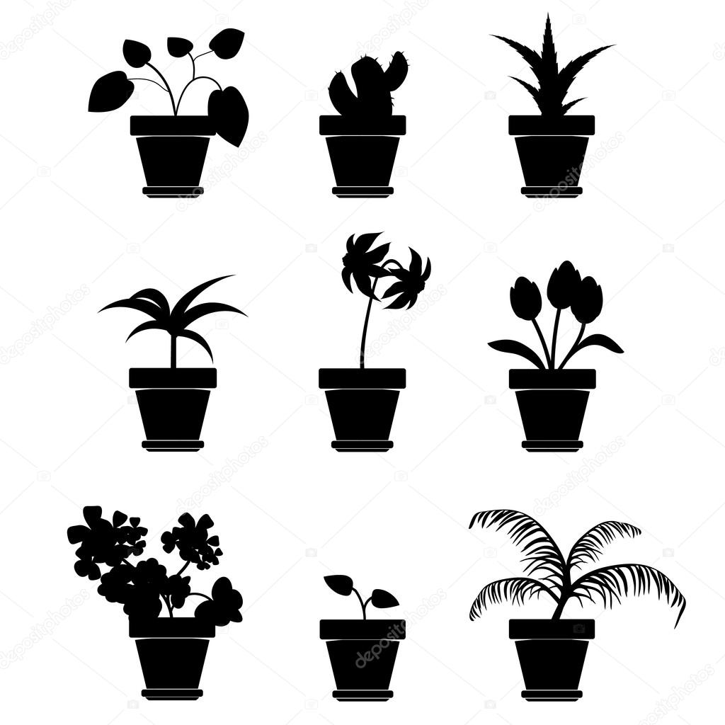 Vector Home Plants in Pots Silhouette Clipart