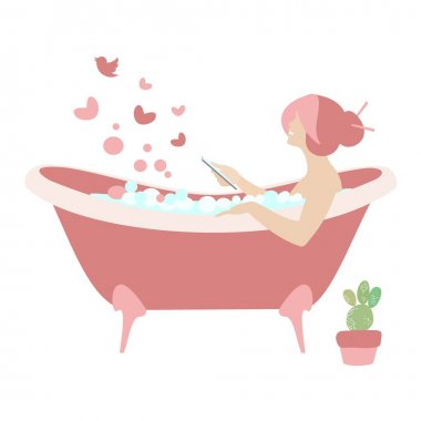 Daily life showering vector illustration. Young woman taking a bath at home. Using phone icon