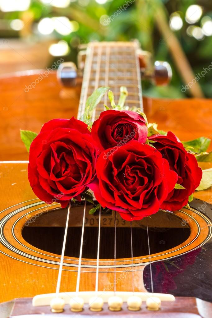 Acoustic Guitar And Roses Stock Photo 3374870clashot 70915179