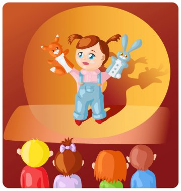 girl with hand puppets