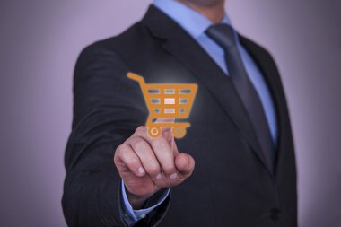 Hand Pressing Shopping Cart icon on screen