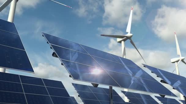 Solární panelové články a rotující větrné turbíny na zelené energetické farmě