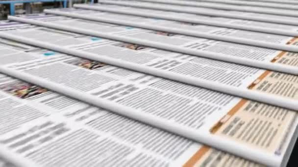 Newspapers with latest news release on a conveyor belt in the editorial office