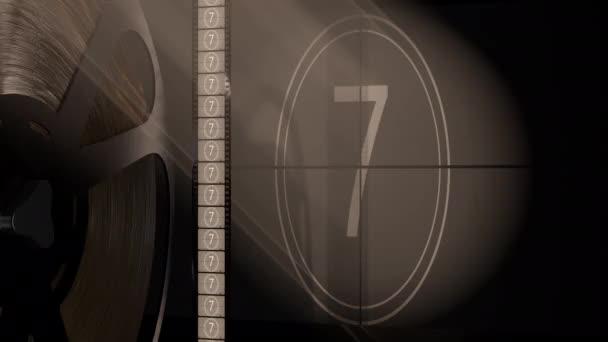 Filmprojektor und Kinoleinwand mit Filmspule und Retro-Countdown