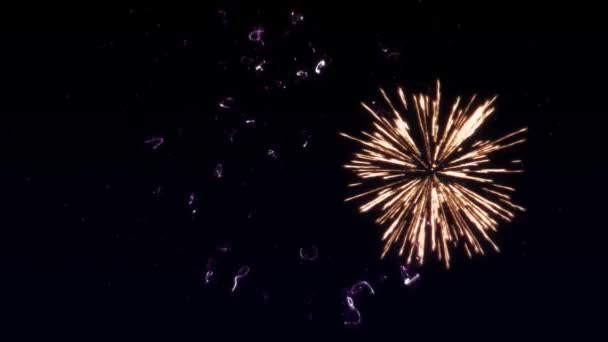 Színes tűzijáték robbanások döntőben a fekete háttér a szív