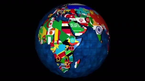 4k, Globus mit Ozeanen und rotierenden Länderflaggen