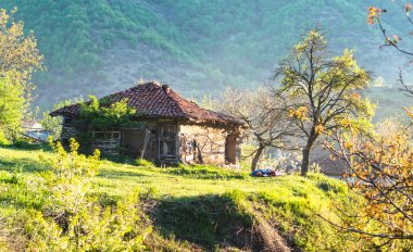 Old adobe house in the morning.