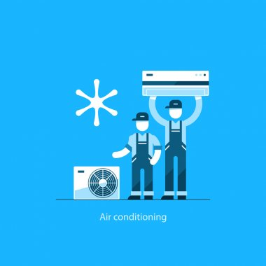 repairman in uniform, house cooling icons