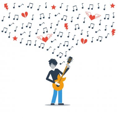 Guitarist playing love melody