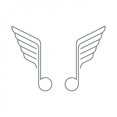 Winged music notes vector stock vector