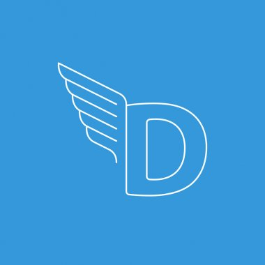 dynamic letter D with wings