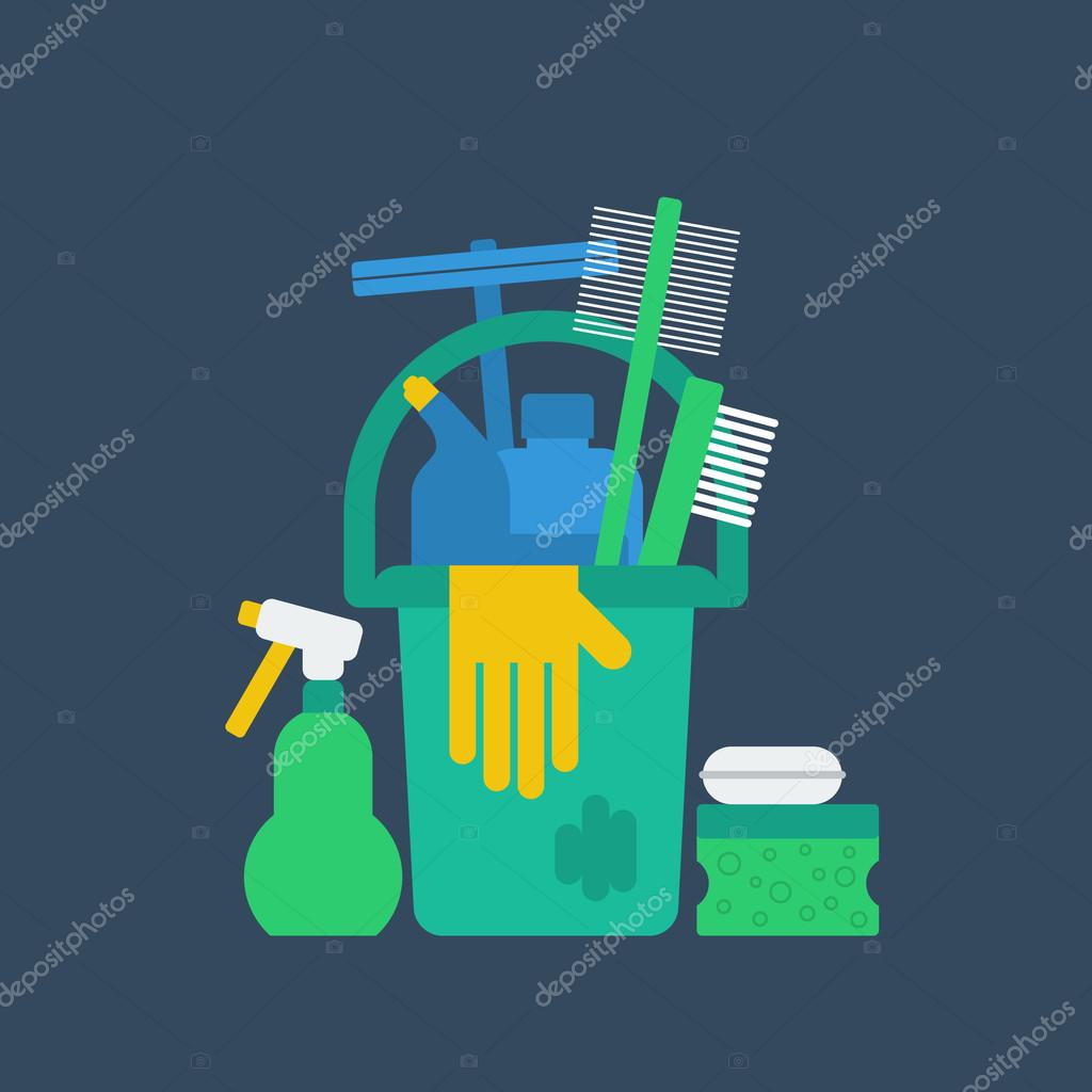 Cleaning supplies vector illustration stock vector
