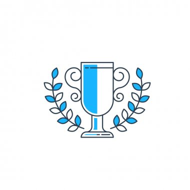 Champion cup with a laurel wreath.