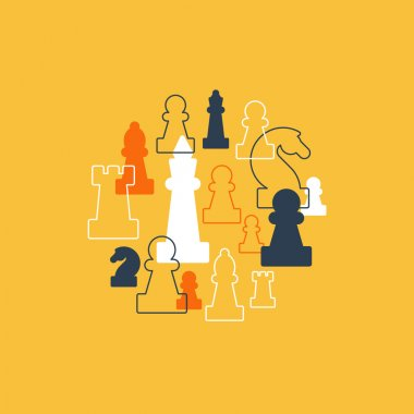 Collage of chess pieces in circle