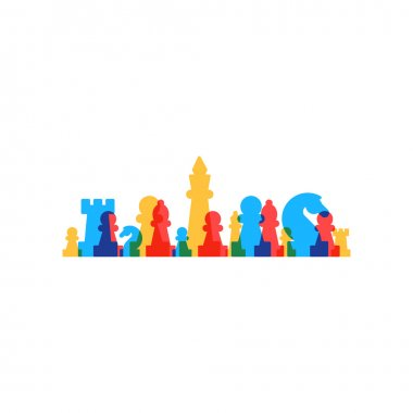 Lined up chess pieces