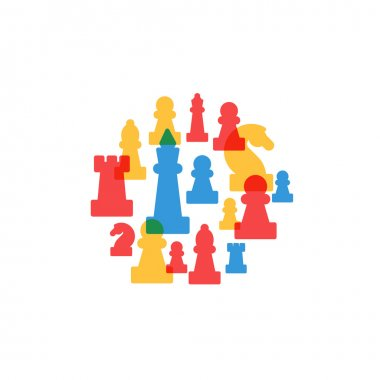 Colorful chess pieces in circle