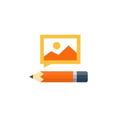 Orange pencil and picture