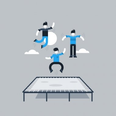 Boys bouncing on a trampoline