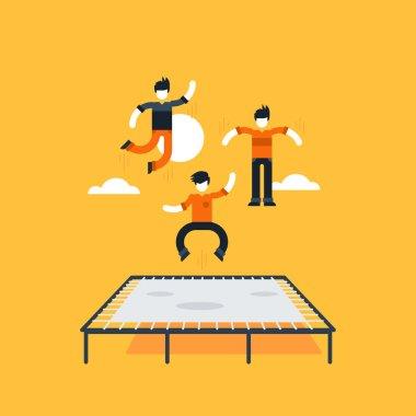 Boys bouncing on trampoline