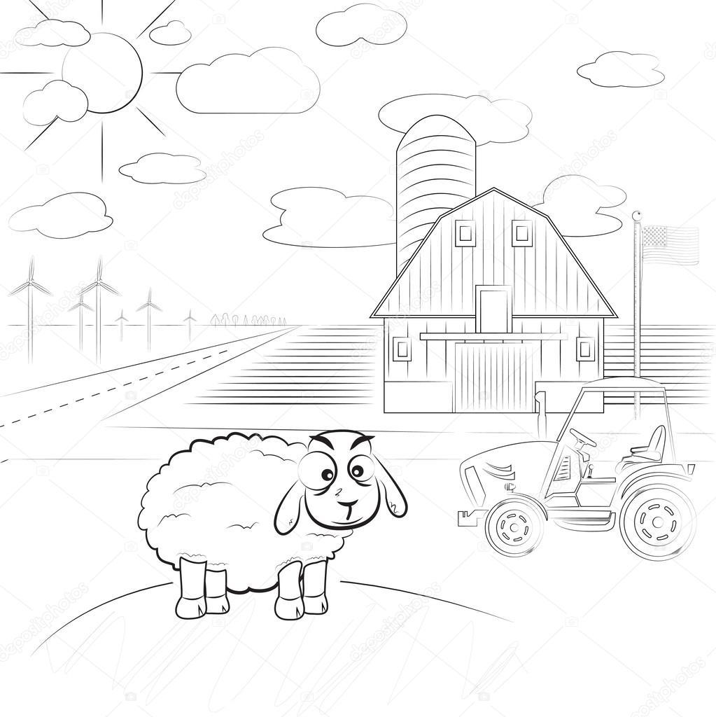 Ilustración de vector de una granja de dibujos animados - niños para ...