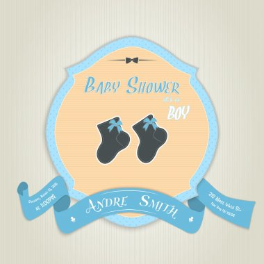 Baby shower invitation with socks for baby boy
