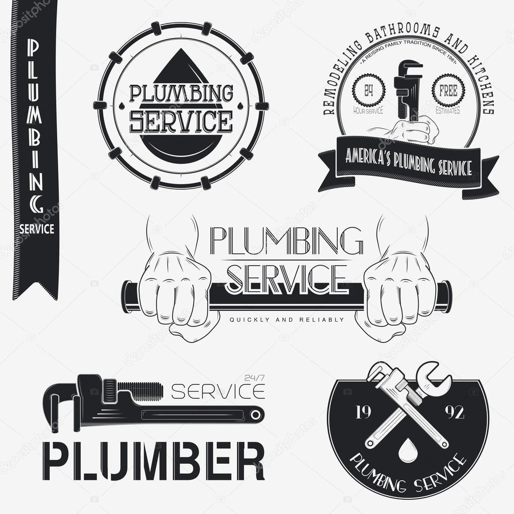 Plumbing service. Home repairs. Repair and maintenance of buildings. Set of Typographic Badges Design Elements, Designers Toolkit.