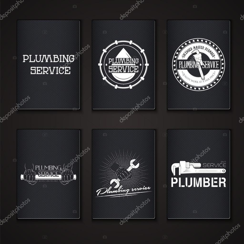 Plumbing service. Home repairs. Repair and maintenance of buildings. Grunge Effect. Set of Typographic Badges.