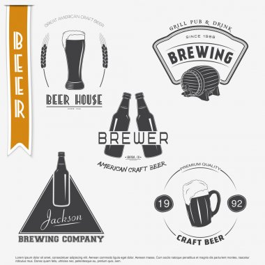 Beer and Brewing. set. Brewing typographic labels, logos and badges.