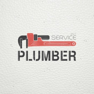 Plumbing service. Home repairs. Repair and maintenance of buildings. Monochrome typographic labels, stickers, logos and badges.