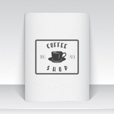 Coffee shop and cafe. The food and service. Old school of vintage label. Sheet of white paper. Monochrome typographic labels, stickers, logos and badges.