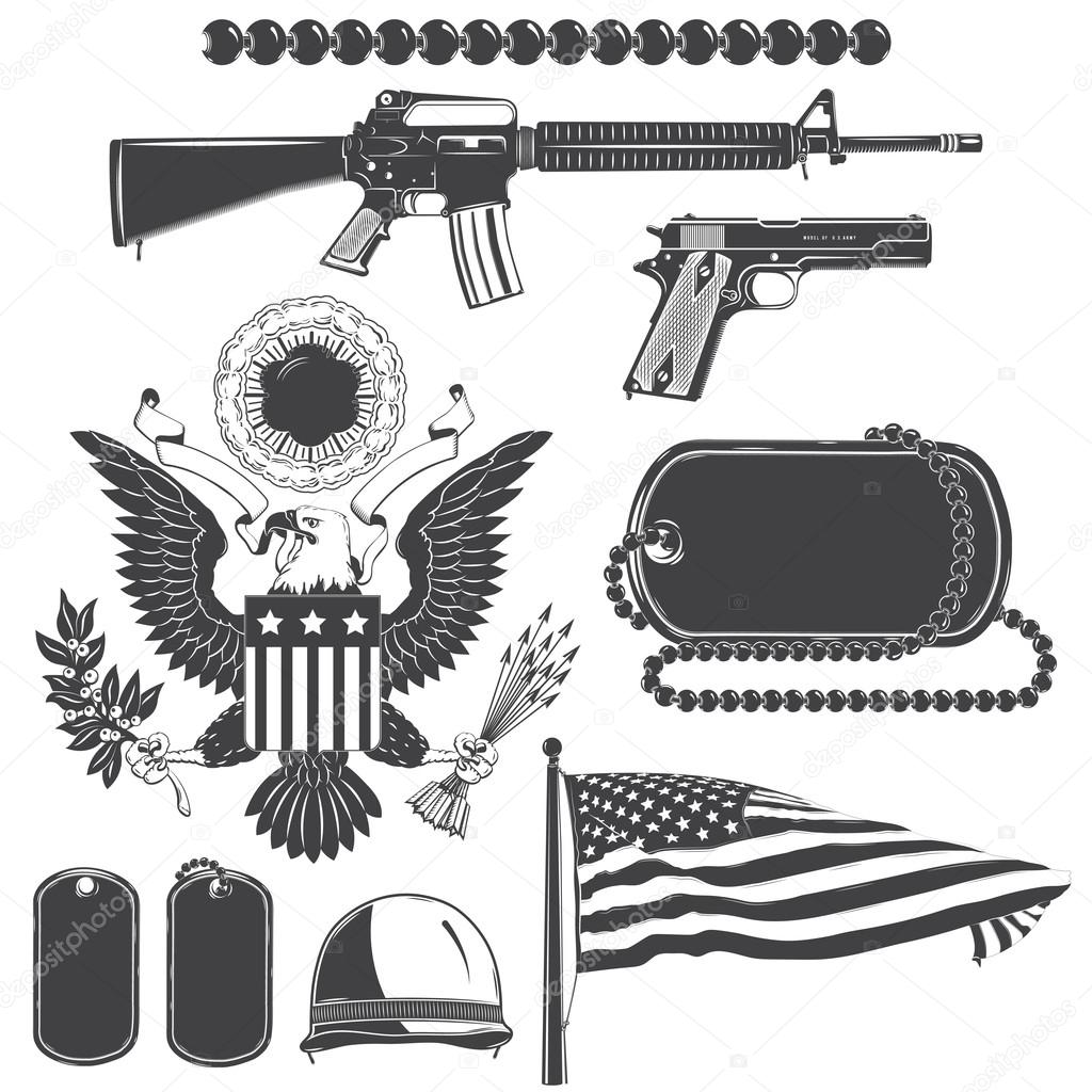 American patriotic elements set. Weapons, armor, flag, seal. Typographic labels,stickers, logos and badges.