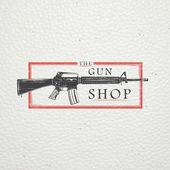 Fotografie US-amerikanische Pistole abzuholen. Schusswaffen-Shop. Jagd Gewehr. Detaillierte Elemente. Alte retro Vintage Grunge. Zerkratzt, beschädigt, schmutzig Effekt. Typografische Etiketten, Aufkleber, Logos und Abzeichen