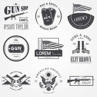American gun shop set. Firearms store. Hunting gun. Detailed elements. Typographic labels, stickers, logos and badges.