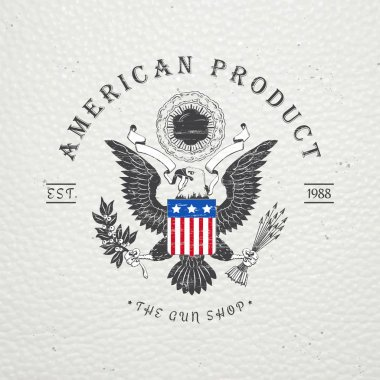 American gun shop. Firearms store. Hunting gun. Detailed elements. Old retro vintage grunge. Scratched, damaged, dirty effect. Typographic labels, stickers, logos and badges.