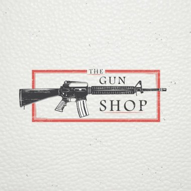 American gun shop. Firearms store. Hunting gun. Detailed elements. Old retro vintage grunge. Scratched, damaged, dirty effect. Typographic labels, stickers, logos and badges. Flat vector illustration stock vector