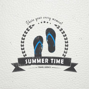 Summer time. Tourist agency. Travel around the world. Detailed elements. Old retro vintage grunge. Scratched, damaged, dirty effect. Typographic labels, stickers, logos and badges.