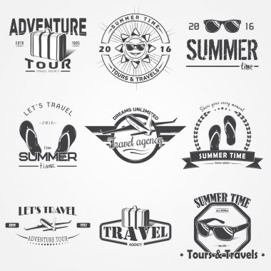Summer time set. Tourist agency. Travel around the world. Detailed elements. Typographic labels, stickers, logos and badges.