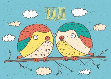 Cute couple of birds sitting on sprig and looking at each other - Spring is coming concept clip art vector