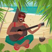 Chlapík sedí na pláži, hraje na kytaru a zpívá