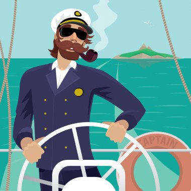 Sea captain on the deck with ships steering wheel