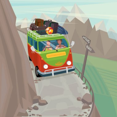 Couple in a hippie bus rides on the mountain serpentine