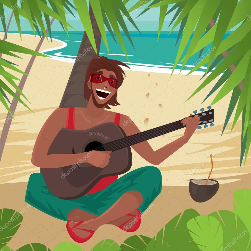 Resultat d'imatges de playa con guitarrista