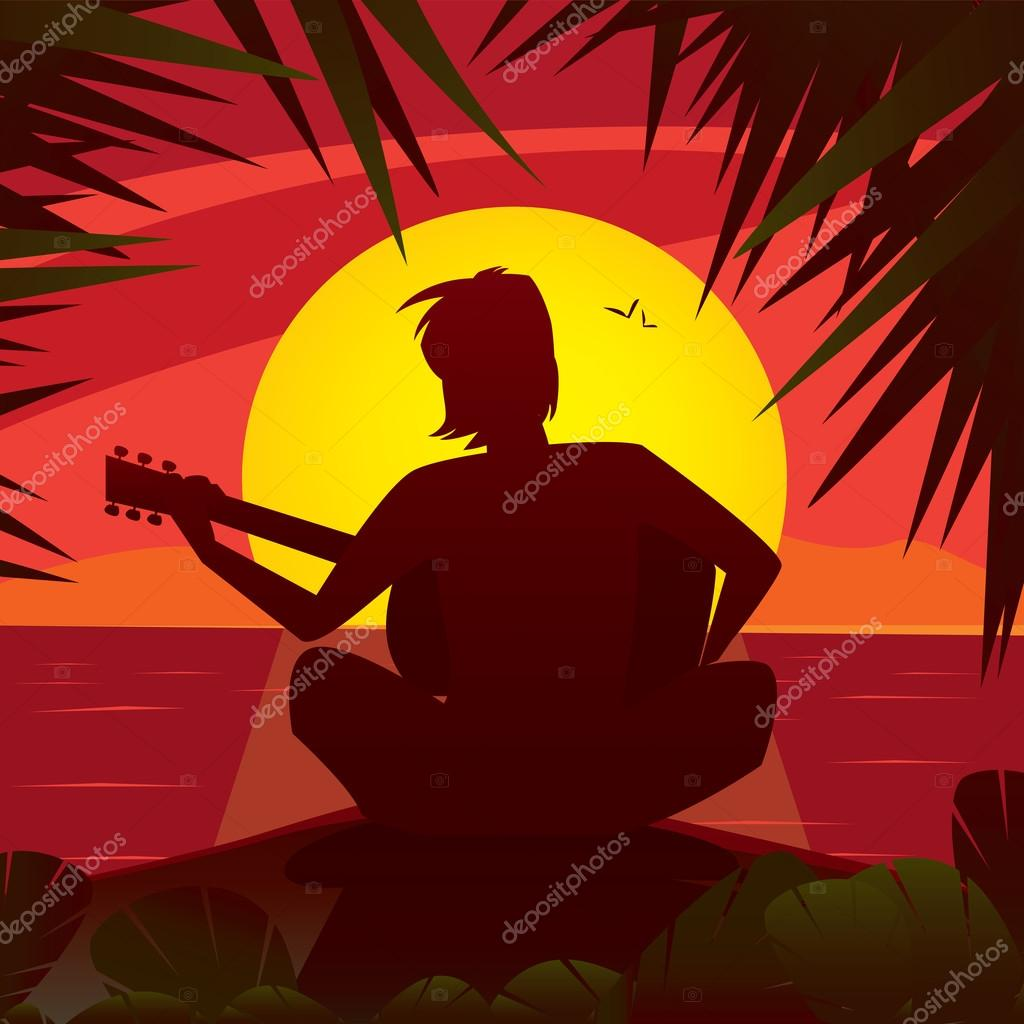 Silhouette of a romantic man playing the guitar at sunset