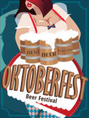 Plakat mit Frau auf Oktoberfest