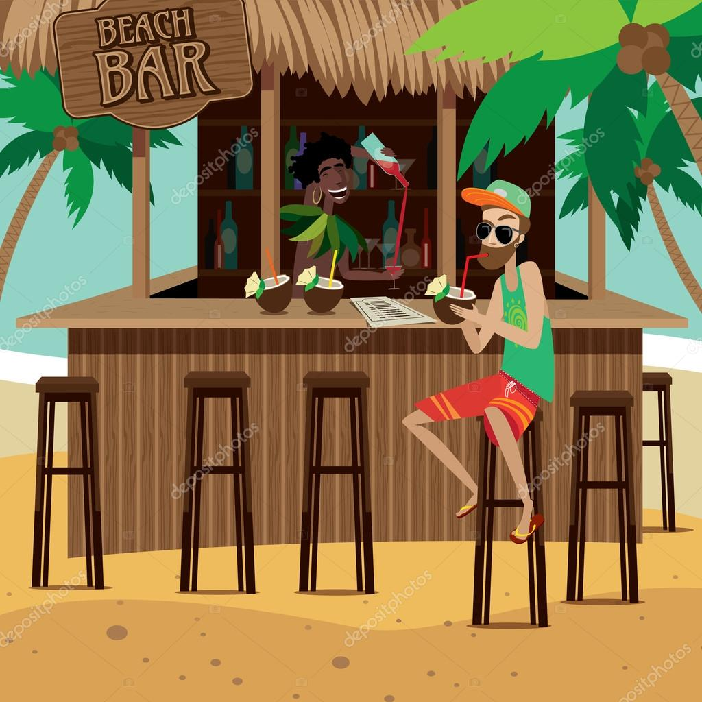 Man at beach bar drinks exotic cocktail