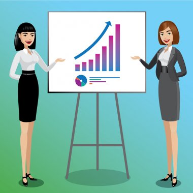 Business women showing graphics
