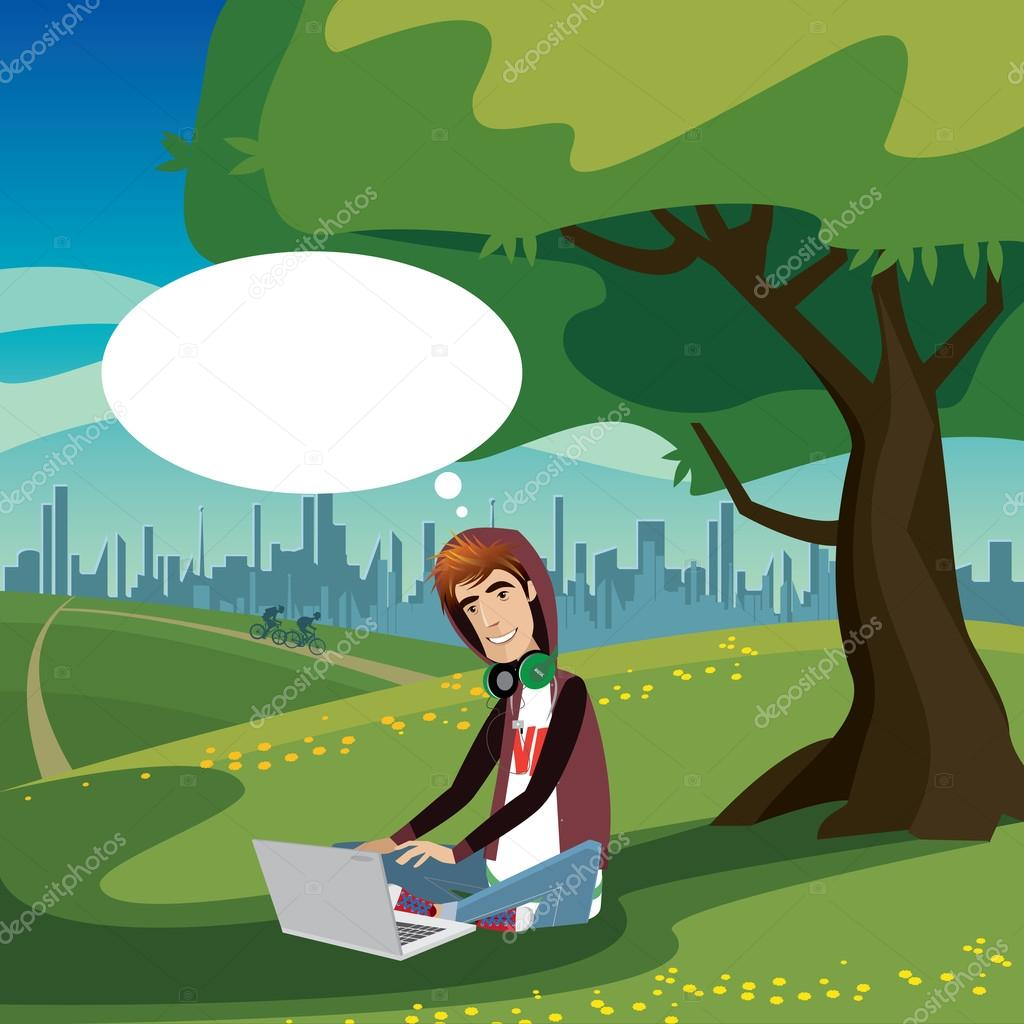 Teenager sitting in city park
