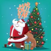 Šťastný nový rok červené Ježíšek u smrku