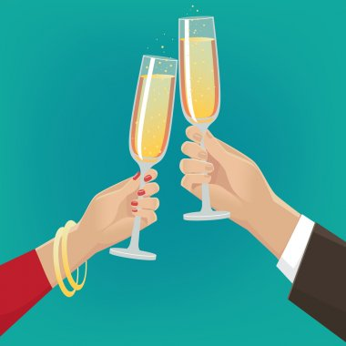 Fancy couple clink glasses of champagne indoors. Celebrate concept stock vector
