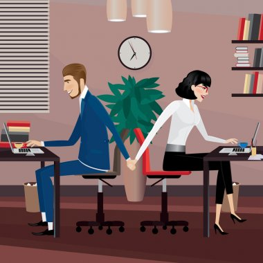 Couple holding hands at workplace. Love affair at work stock vector